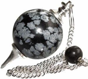01-Péndulo Radiestesia Adivinación - Obsidiana Copo De Nieve